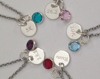 Running Jewelry Necklace 5K, 10K, 13.1, 26.2, Run