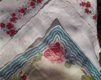 VINTAGE HANDKERCHIEFS, Printed Rose Design,Cutwork Design,Floral Garland Design