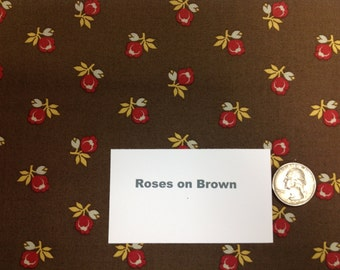 """Roses on Brown Fabric - 38"""""""