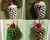 Rustic Painted Pinecone Set of 3 Ornaments