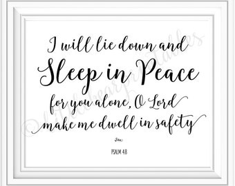 Psalm 4:8 printable Bible verse, I will lie down and sleep in peace, encouraging wall art, printable bedroom decor, typography scripture