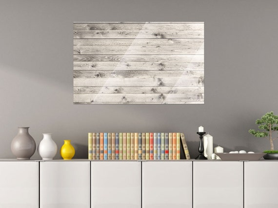 Glass Wall Board Magnetic For Living Room Wooden Planks