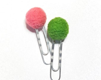 lot de 2 paperclips boules en laine cardée - corail & vert
