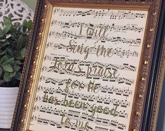 I will Sing Unto The Lord  | 518 | Gold Foil Print | Vintage Sheet Music Wall Art | Antique Sheet Music