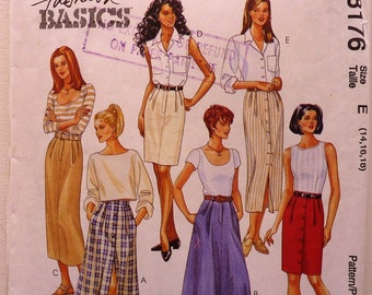 McCall's 8176 Ladies Skirts in two lengths Sewing Pattern for Women Size 14, 16, 18 Uncut Vintage Original