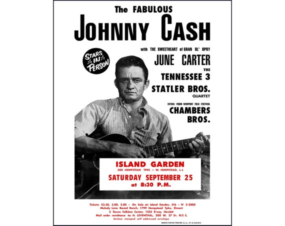 johnny cash photo print poster johnny cash concert poster. Black Bedroom Furniture Sets. Home Design Ideas