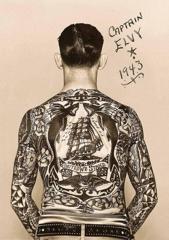 vintage tattoo photo print tattooed man tattoo art 1940s back. Black Bedroom Furniture Sets. Home Design Ideas