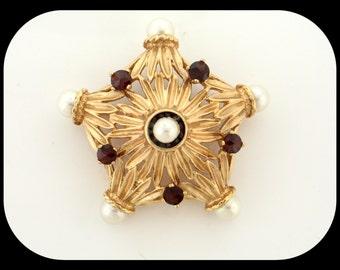 Art Deco Handmade Signed 14K Yellow Gold Pearl & Garnet Heavy 3D Filigree Star BROOCH