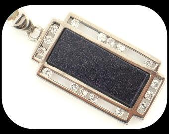 New Designer GR Blue Sandstone & Cubic Zirconia CZ 925 Sterling Silver PENDANT