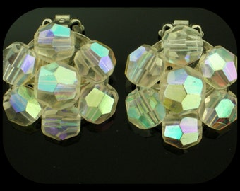 Vintage Aurora Borealis Crystal Rhinestone Silver Plated Clip On EARRINGS