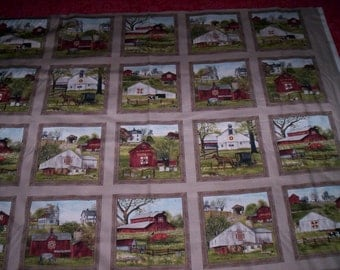 1 panel HEADING Home by Billy Jacobs for Elizabeth's Studios Sepia  blocks barns saltbox homes
