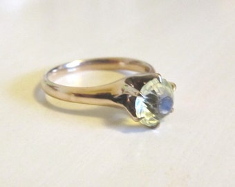 Antique Victorian Claw Engagement Ring Mounting 14k Rose Gold Synth Yellow Gem