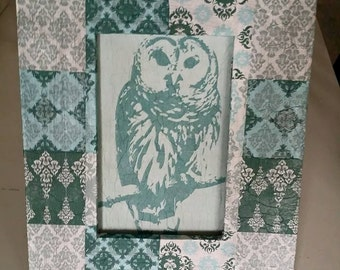 Handmade owl wall hanging! Upcycled decoupaged frame