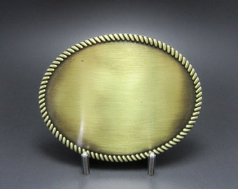 Classic Antique Bronze Western Rope Oval Blank Belt Buckle