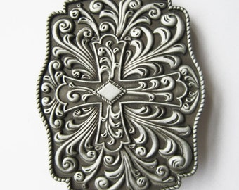 Original Western Flowers Celtic Cross Belt Buckle