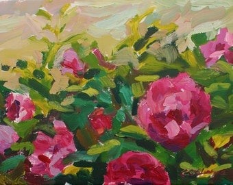 Original Acrylic Painting of Pink Bush Roses, Plein-air Impressionist Style painting, 16x12in