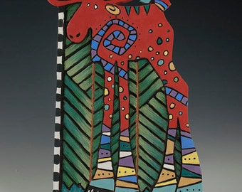 Lanky, contemporary, whimsical red moose ceramic wall tile