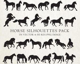 Horse Silhouette Clipart, Horse Silhouette Clip art, Horse Clip Art, Horse Clipart Vector EPS AI & PNG Design Elements Instant Download