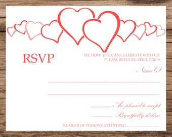 Printable hearts decorated RSVP card, instant download, all colors available, download wedding RSVP template design, 001-012