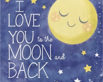 I Love You to the Moon and Back, Paper Napkins, Twinkle Twinkle Little Star, Starry Night, Paper Napkins, Moon, Stars, Lunch Size