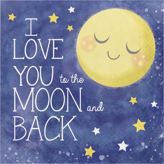 i you to the moon and back paper napkins twinkle