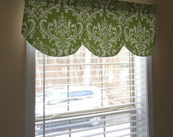 """Scallop, shaped valance, ozborne damask, chartreuse lime green, white 42"""" x 16"""""""