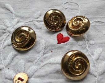 Vintage buttons, French  buttons, 4 set buttons, gold colour buttons, unusual buttons, boutons dorés, beaux boutons, shank buttons