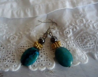 Dangling  earrings ,Chrysocolla earrings