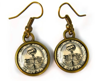 Small Memento Mori Victorian Skeleton Antique Bronze Gothic Glass Halloween Earrings 131-BSE