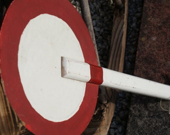 Vintage circa 1950's French wooden traffic paddle