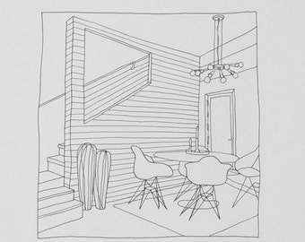 Custom line drawing of interior or exterior from your photo