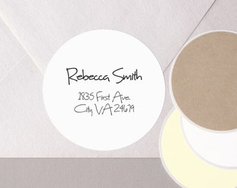 "HANDWRITTEN font return address label stickers modern minimalist personalized round 12 large 2.5"" or 20 medium 2"" plain envelope seals WHITE"
