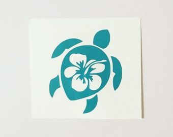 Hibiscus Sea Turtle Decal - Summer Turtle Decal