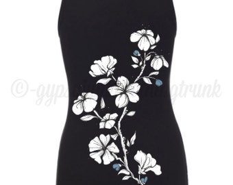 Floral Black Tank Top - Flower Shirt - Cherry Blossom Shirt - Flower Graphic Tank Top - Gifts For Women - Fitted Tank Top