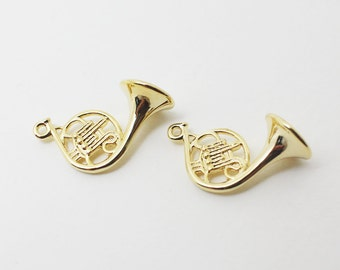 P0417/Anti-tarnished Gold Plating Over Brass/Horn Pendant/11mm x 22mm/2pcs