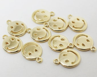 P0435/Anti-tarnished Gold Plating Over Brass /Shinny Smile Pendant/9x12mm/2pcs