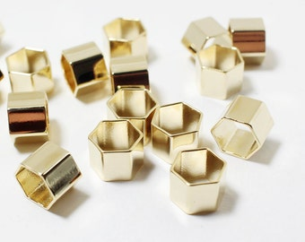 P0463/Anti-tarnished Gold Plating Over Brass/Hexagon Tube Pendant Connector/10x10mm,8mm Thickness/4pcs