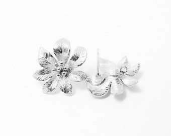 E0036/Anti-tarnished Matte Rhodium Plating Over Brass/Bloom Earrings /17x17 mm/2pcs