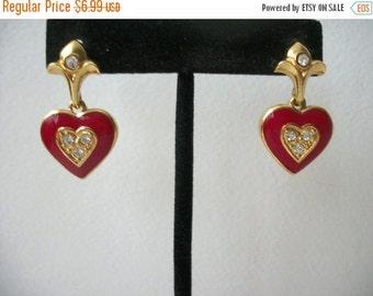 ON SALE Vintage AVON Gold Tone Red Heart Enamel Rhinestone Earrings 51716