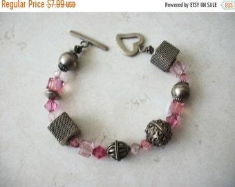 ON SALE Vintage 1940s Silver Filigree Pink Czech Glass bracelet 73016