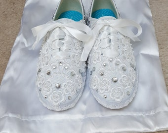 New Bridal Sneakers with satin carrying bag