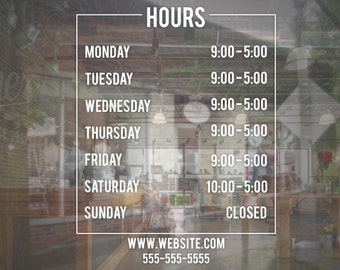 Store Business Hours Sign Vinyl Decal
