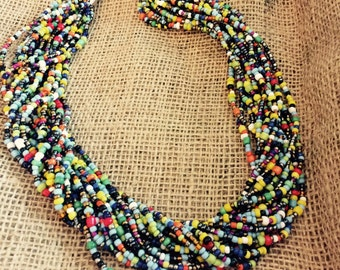 Multi-colored African Beaded Necklace