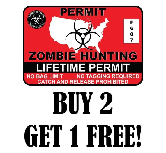United states zombie hunting permit license vinyl sticker for Buy illinois fishing license online