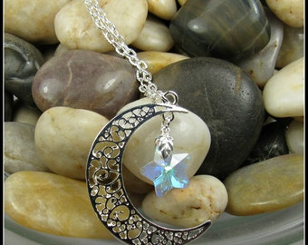 "Moon and Star Pendant on 24"" Chain"