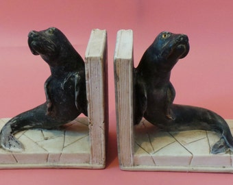 Vintage Chalk Ware SEAL BOOKENDS By Artisco