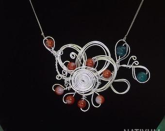 Flower Necklace, Aluminum Wire Jewelry