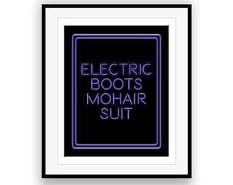 Bennie and the Jets / Elton John - Song Lyric Art Print, lyric keepsake, glam rock, electric boots, mohair suit, abstract art, modern art