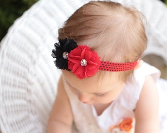 Christmas baby headband-Black and red baby headband-red and black Christmas bow-holiday headband-black and red christmas headband-red black