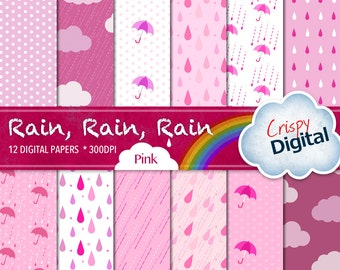 Rain Digital Paper Printable Rain Drops, Polka Dots, Clouds and Umbrellas Pink 12pcs 300dpi Instant Download Scrapbooking